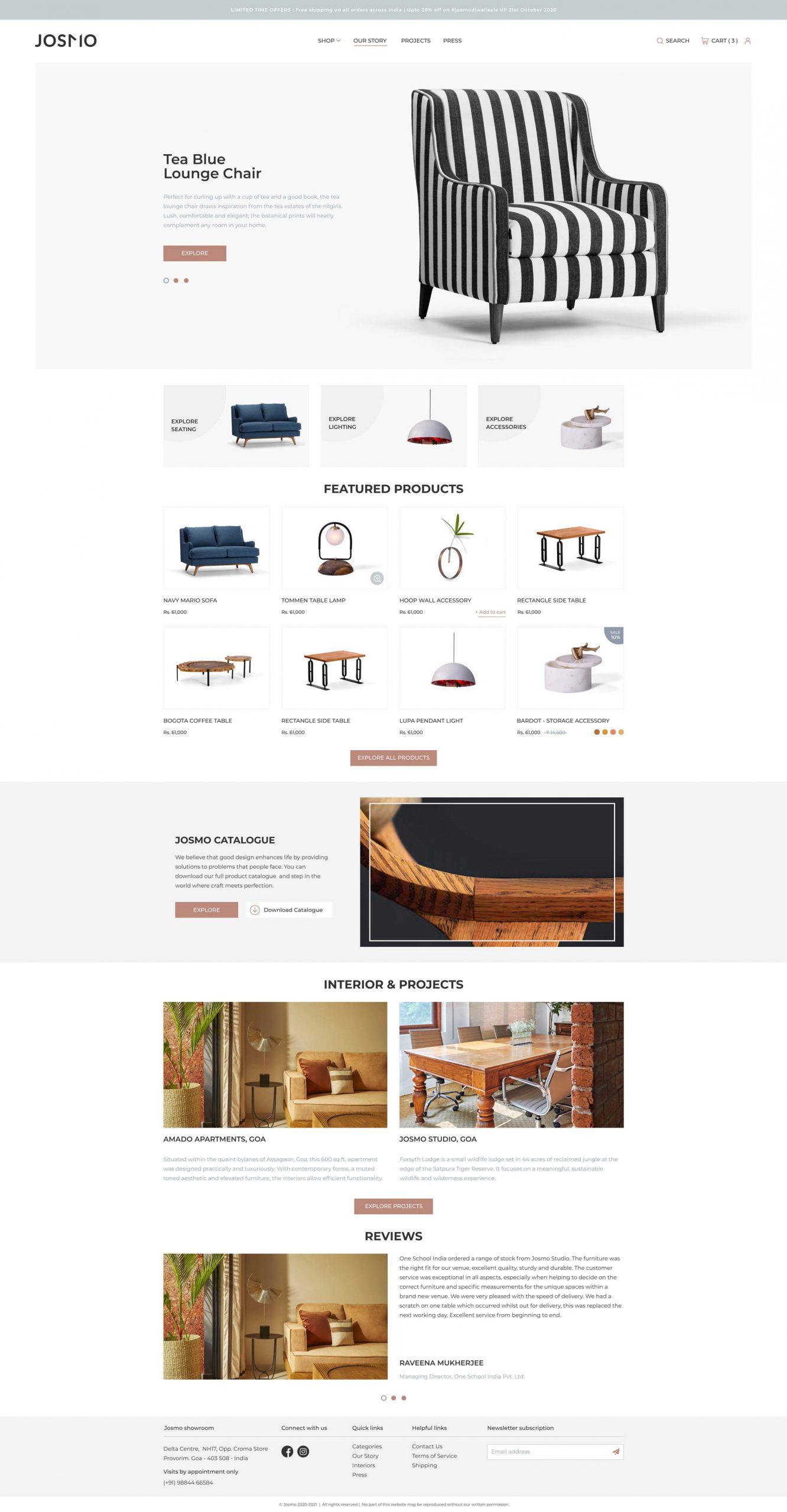 Josmo Homepage UI